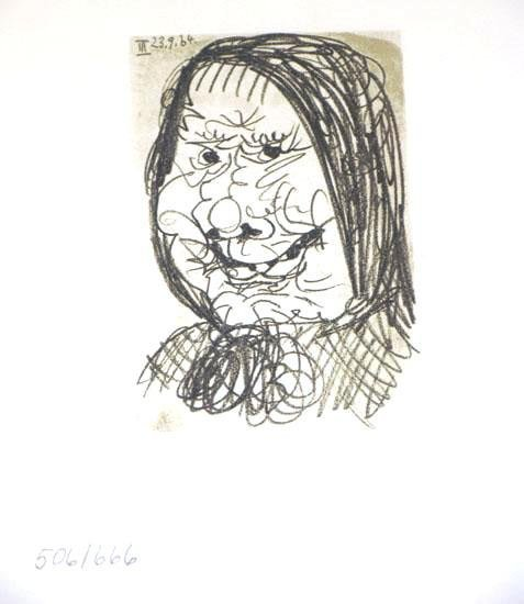 104874: RARE PICASSO PORTAIT LITHOGRAPH HAND NUMBERED L
