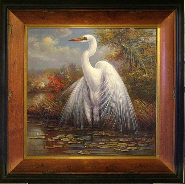 109263: COLORFUL PAINTING ON CANVAS FRAMED EGRET BIRD N