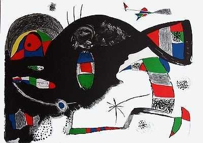 201139: JOAN MIRO FANTASTIC COLORFUL LITHOGRAPH 35X24 R
