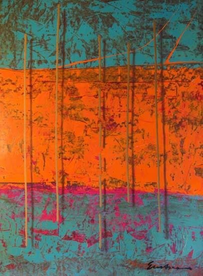 201472: LARGE COLORFUL ABSTRACT 34X48 HUGE LIQUIDATION