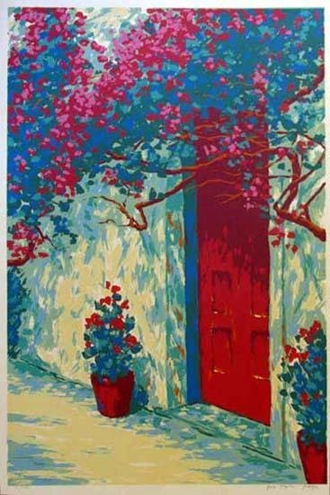 201664: RED DOOR EUROPEAN STYLE REALISTIC SERIGRAPH LIM