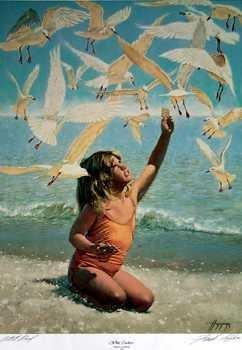 301572: LITTLE GIRL FEEDING BIRDS ON BEACH HOPPER LTD E