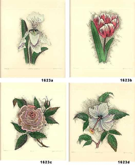 301623: SET OF 4 COLORED ETCHINGS ROSE, TULIP ONLY $200