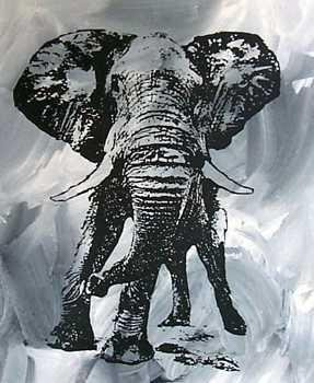 302637: BLACK & WHITE ORIGINAL CANVAS ELEPHANT DEALER S