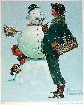 401091: SNOW SCULPTING NORMAN ROCKWELL SNOWMAN ART