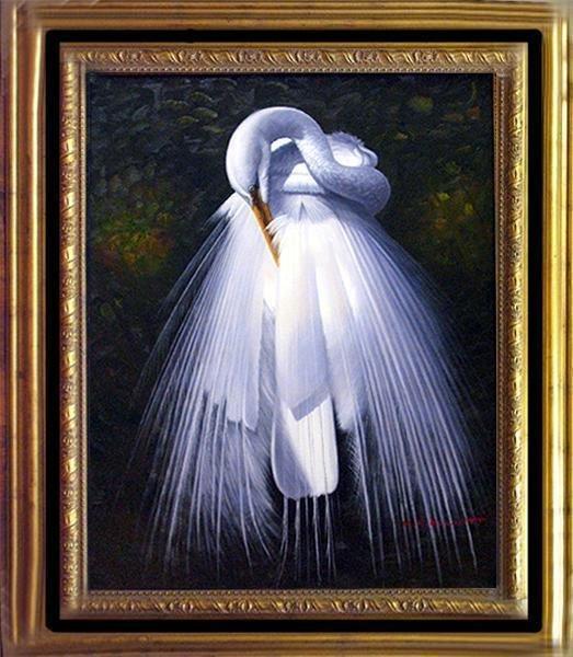 509228: WEDDING BIRD ELLIOTT ORIGINAL EGRET PAINTING FR