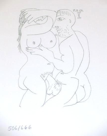 104875: EROTIC PICASSO RARE LTD ED HAND NUMBERED DRAWIN