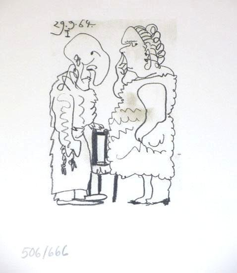 104885: PICASSO COUPLE RARE PENCIL NUMBERED LIMITED EDI
