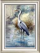 Blue Heron Mixed Media Painting on Canvas