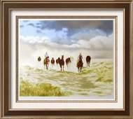 Realistic Western Scene Cowbays On Horses Ltd Ed