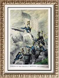 Storming Of The Heights At Monterey Color Lithographic