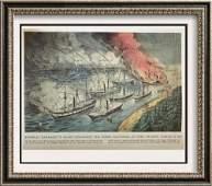 Civil War: Admiral Farragut Fleet Engaging The Rebel
