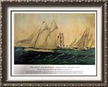 The Great International Yacht Race Color Lithographic