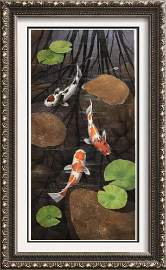 Vertical Gold Fish Realistic Painting on Canvas