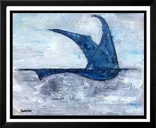 Flight Blue Egret Abstract Original Painting