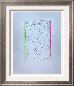 Pablo Picasso Erotic Lovers Lithograph on Arches Paper