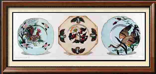 Hand Colored Etching Plates 11X30 Signed Ltd Ed