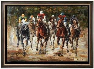 Derby Day Horse Racing Colorful Neiman-Style Painting