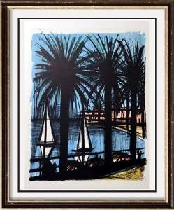 Bernard Buffet Cannes Full Color Print, Executed in