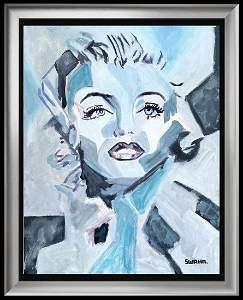 Marilyn Monroe Pop Warhol Style Painting on Canvas