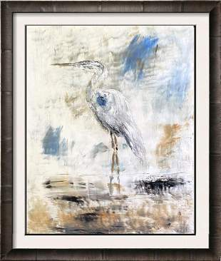 Blue Egret Standing Abstract Modern Painting