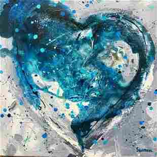 Earth Heart Pop Colorful Mixed Media Original