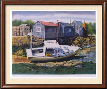 Landscape Nautical Beached Boat Signed Ltd Ed Art