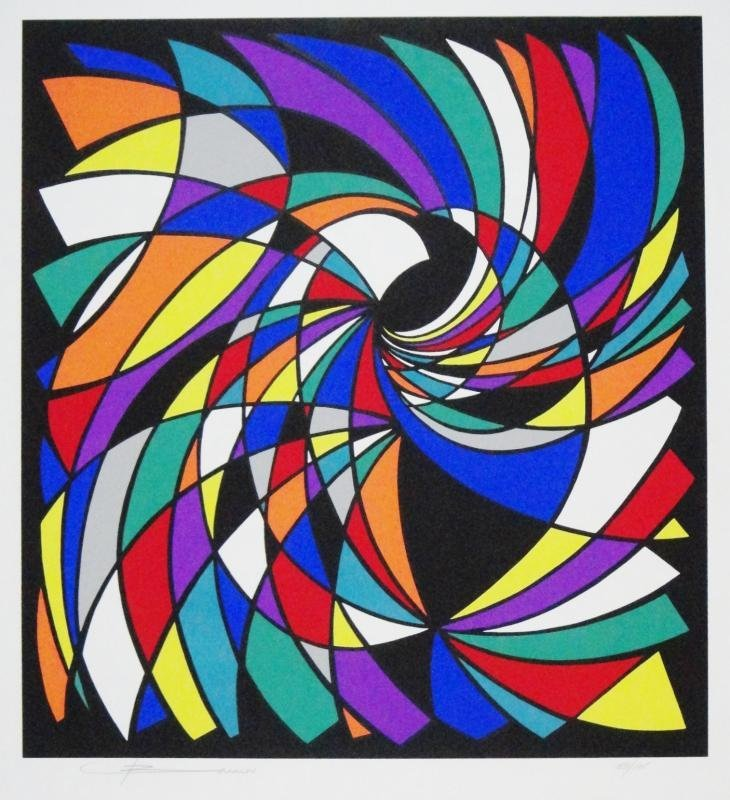 Vasarely Style Limited Ed Signed Serigraph Basson