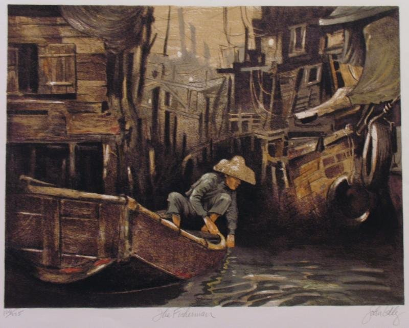 John Kelly Rare Signed Limited Edition Asian Boat Scene
