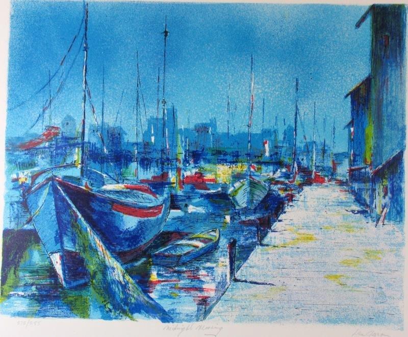 Boat Scene Bold Blue Colors Abstract Ltd Ed Sale