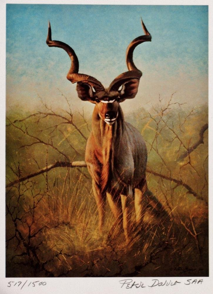 Great Hunting Art Ram Lithoghaph Signed Colored