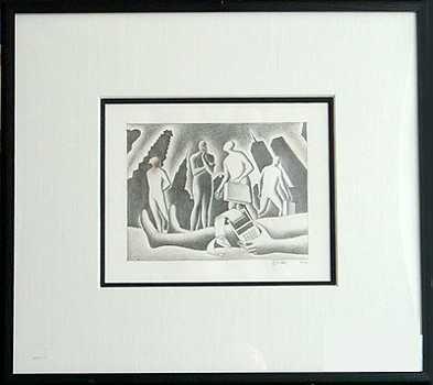 398: Original Pencil Drawing Mark Kostabi Rare Find