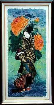 1219A: Kravjansky Oriental Japanese Geisha Girl Framed