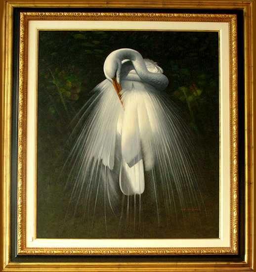 200: Realistic Huge Egret Wedding Bird Canvas