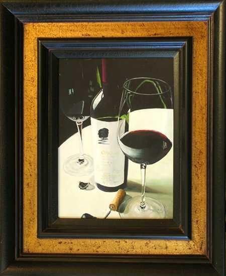 201: Painting on Canvas Custom Framed Wine Art