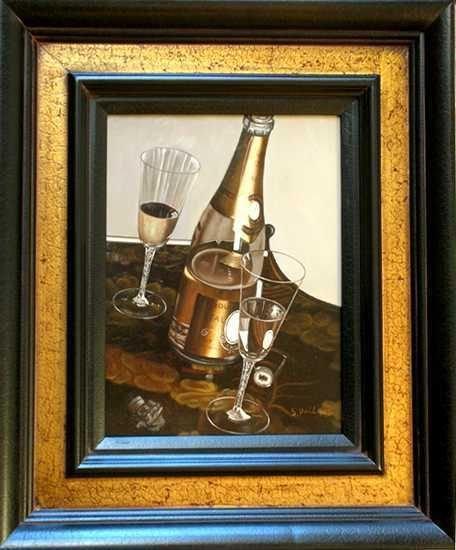 202: Photo Realism Wine Framed Original Painting