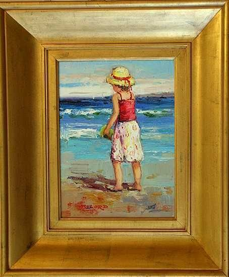 203: Behrens Style Beach Scene Canvas Painting