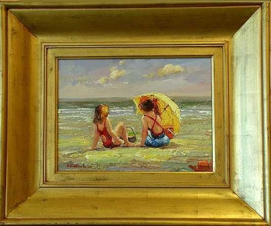 204: Beach Scene Original Framed Painting Sale