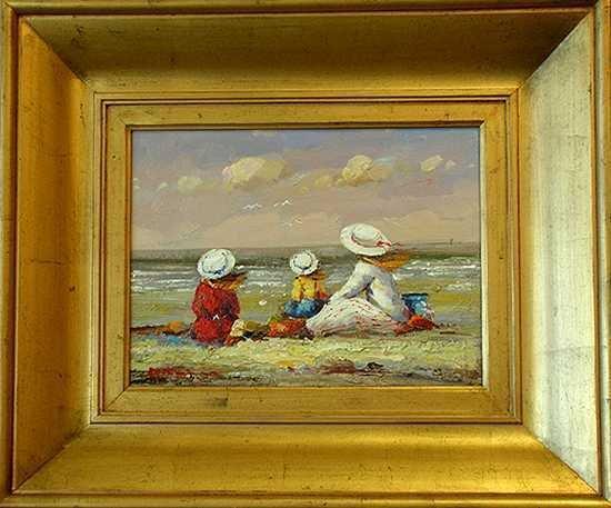 206: Impressionistic Canvas Painting Beach Scene