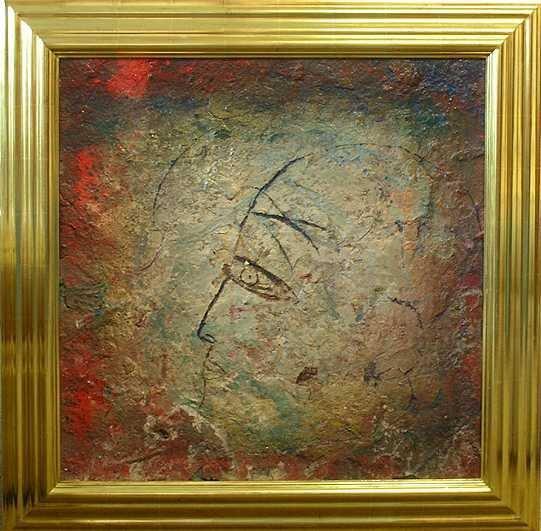 006E: Jamali Original Fresco Canvas Painting Rare Find