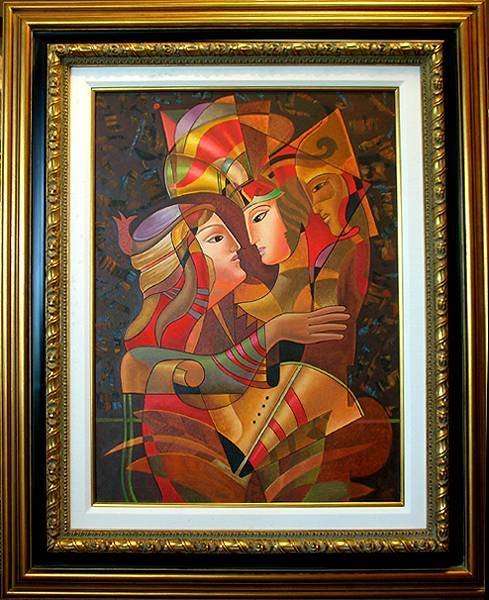 009E: Huge Figurative Abstract Russian Style Painting