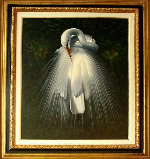 200E: Realistic Huge Egret Wedding Bird Canvas