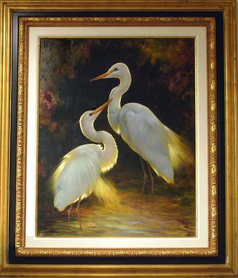 209E: Original Framed Painting Estate Sale Love Birds