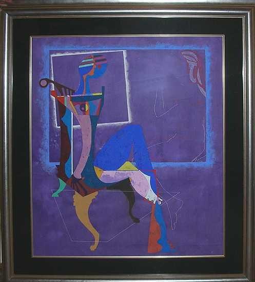 228E: Lu Hong Estate Painting Sale Framed Art