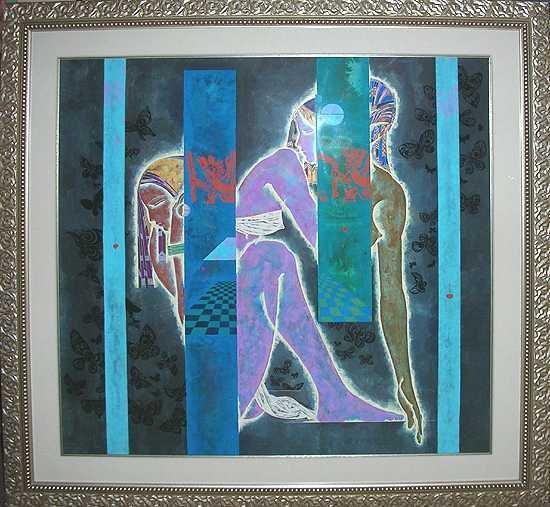 229E: Lu Hong Original Painting 52x52 Large Art