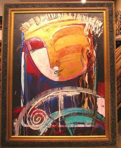 8640E: Custom Framed Gaylord Painting on Canvas Origina