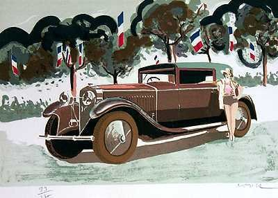 571: Auto Car Lovers Hispa Suiza Ltd Ed Lithograph