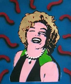 990: Marilyn Monroe in Warhol Style Canvas Orig