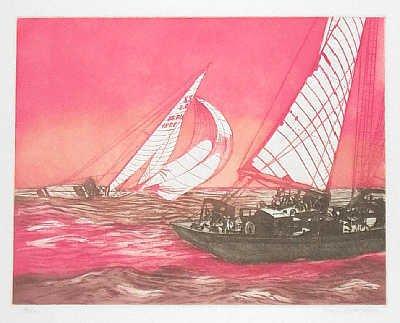 1908: Sailing Paul Geygan Original Etching