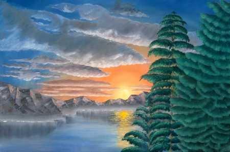 10000: Sunset California Artist Shepherd Original Canva